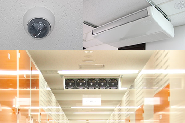 収納ルーム内、空調設備・防犯設備の写真