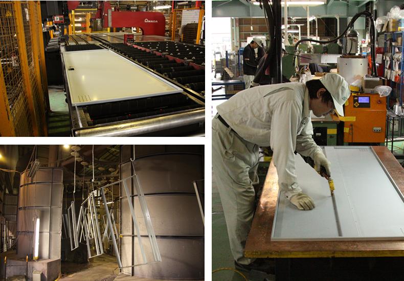 新潟県燕市の生産工場、ロッカー製作中の写真